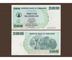 Зимбабве 25 миллионов долларов 2008 год