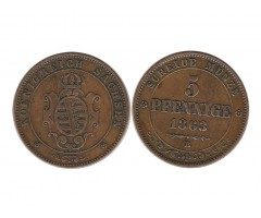 Саксония 5 пфеннигов 1863 года В