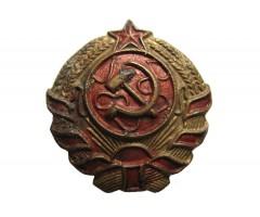 """Петличная эмблема """"серебряный герб"""" помощника начальника милиции республики"""