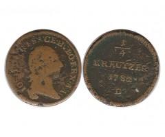 Австрия 1/4 крейцера 1782 года