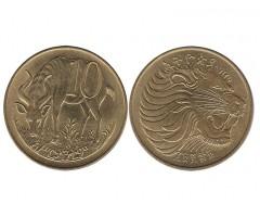 Эфиопия 10 центов 1977 года