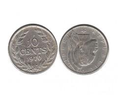 Либерия 10 центов 1970 года