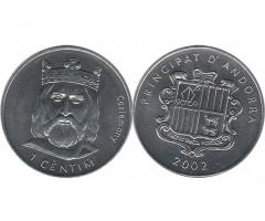 Андорра 1 сентим 2002 года