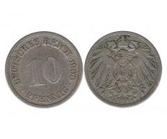 Германия 10 пфеннигов 1900 года F