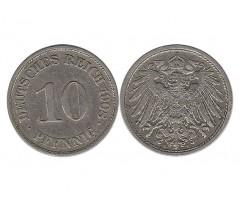 Германия 10 пфеннигов 1908 года А