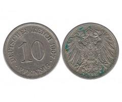 Германия 10 пфеннигов 1907 года А