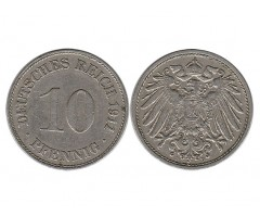 Германия 10 пфеннигов 1911 года Д
