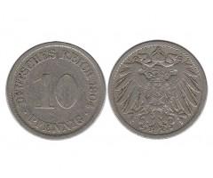 Германия 10 пфеннигов 1904 года F