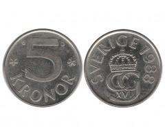 Швеция 5 крон 1988 года