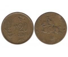 Литва 20 центов 1925 года