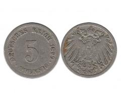 Германия 5 пфеннигов 1890 года G