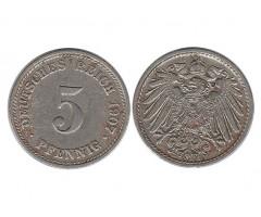 Германия 5 пфеннигов 1907 года Д
