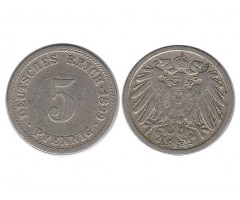 Германия 5 пфеннигов 1899 года Д