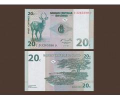 Конго 20 сантимов 1997 года