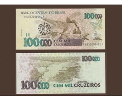Бразилия 100 крузейро 1993 года на 100000 1990 года