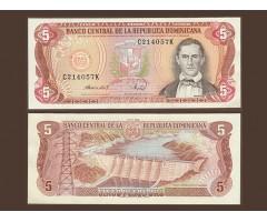Доминикана 5 песо 1988 года