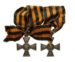 Георгиевские кресты 3 и 4 степени на оригинальных лентах