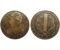 Франция 2 соль 1791 года