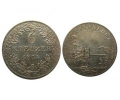 Франкфурт 6 крейцеров 1854 года