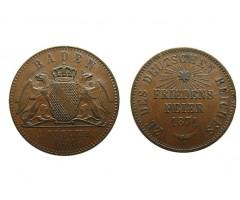 Баден 1 крейцер 1871 года (юбилейная)