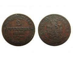 Саксония 2 пфеннига 1869 года