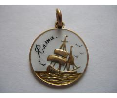 Сувенирный памятный жетон Ялта золото 56 пробы